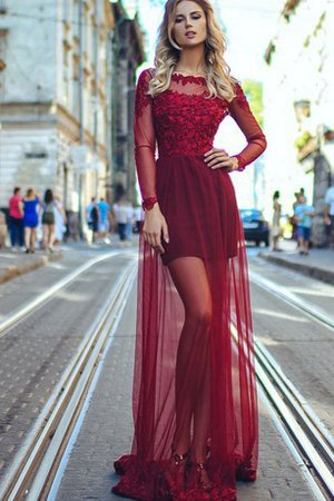 Tulle Natural Waist Zipper Up A-Line Bateau Evening Dress