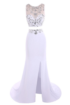 Elegant & Luxurious Floor Length Jewel Accented Fancy Prom Dress
