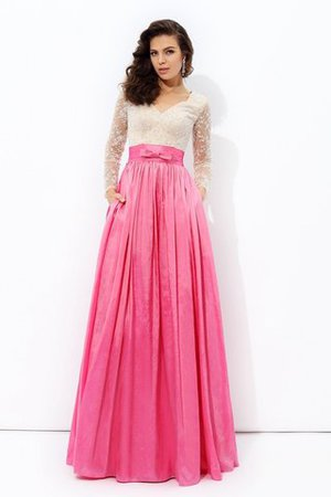 V-Neck Zipper Up Long Sleeves Long Lace Prom Dress