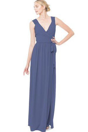 Chiffon Split Front Sleeveless Sexy Bridesmaid Dress
