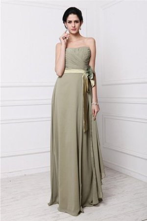 Strapless Chiffon Floor Length Long Sleeveless Bridesmaid Dress