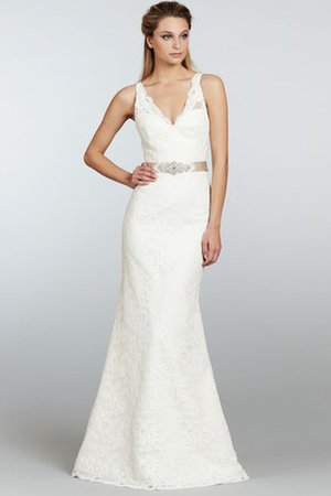 Sheath Lace V-Neck Sweep Train Crystal Wedding Dress