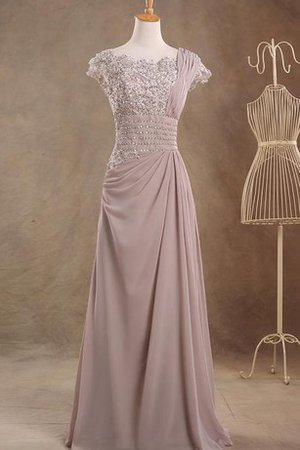 Chiffon Vintage Short Sleeves Jewel Floor Length Prom Dress