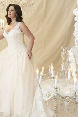 A-Line V-Neck Vintage Romantic Lace Fabric Wedding Dress