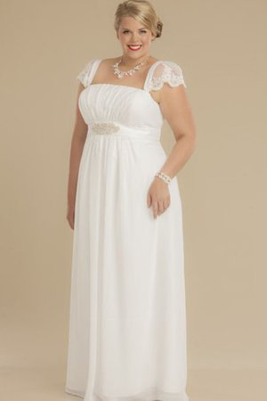 Empire Waist Lace A-Line Short Sleeves Square Wedding Dress