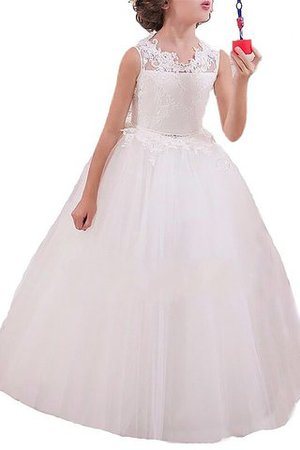 Tulle Appliques Natural Waist Flowers Floor Length Flower Girl Dress