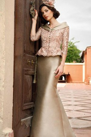 Lace 3/4 Length Sleeves Floor Length V-Neck Natural Waist Mother Of The Bride Dress