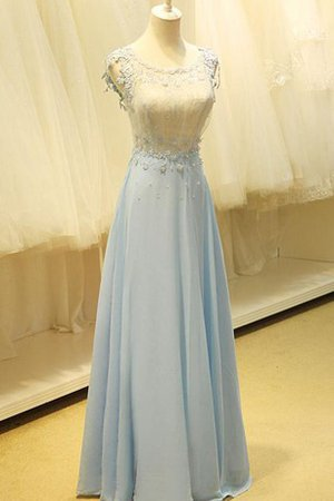 Capped Sleeves Appliques Floor Length Scoop Natural Waist Prom Dress
