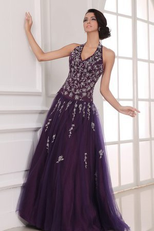 Temperament Appliques A-Line Tulle V-Neck Evening Dress