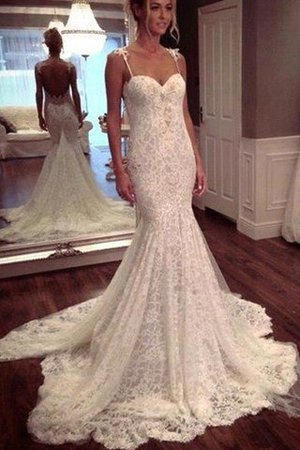 Lace Mermaid Court Train Spaghetti Straps Natural Waist Wedding Dress