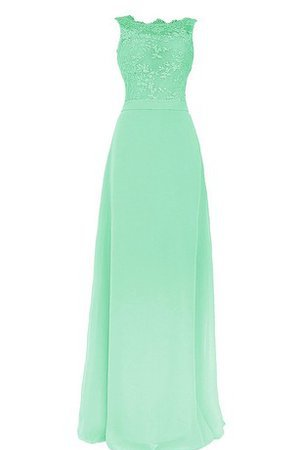 Natural Waist Bateau Chiffon Sleeveless Floor Length Bridesmaid Dress