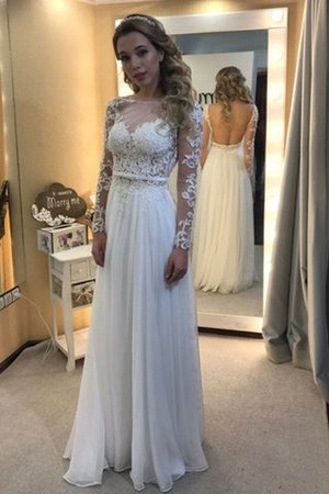 Chiffon Floor Length Long Sleeves A-Line Wedding Dress