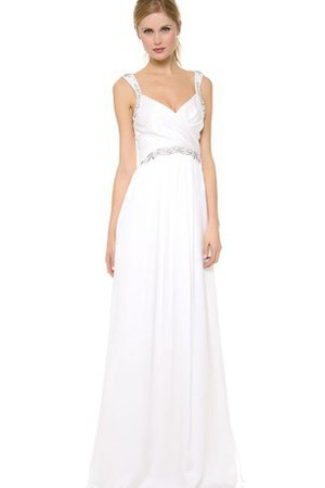 Beach Satin Sweep Train Simple Pleated Wedding Dress