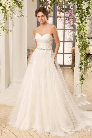 Lace-up Appliques Sleeveless Floor Length Sweep Train Wedding Dress