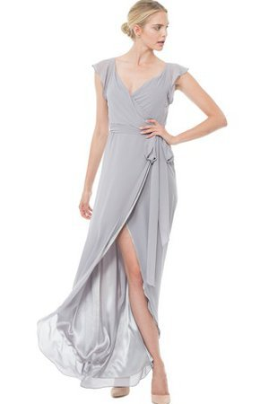 Capped Sleeves V-Neck Split Front Chiffon Bridesmaid Dress