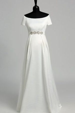 Satin Simple Vintage Beading Short Sleeves Wedding Dress
