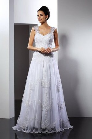 A-Line Empire Waist Wide Straps Lace Court Train Wedding Dress