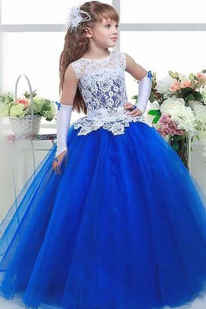 Floor Length Lace Jewel Ball Gown Flowers Flower Girl Dress