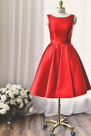 Satin Accented Bow Zipper Up Ruched Pleated Homecoming Dress