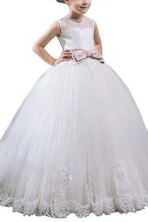 Flowers Sashes Tulle Sleeveless Ball Gown Flower Girl Dress