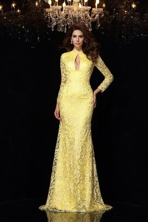 Lace High Neck Sheath Long Sleeves Long Prom Dress