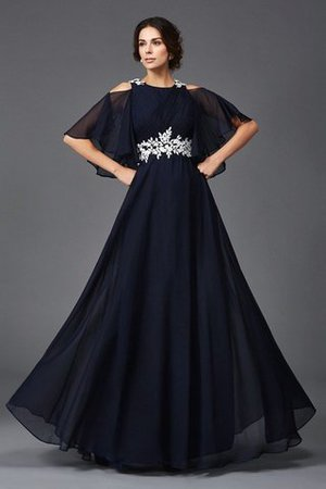 Half Sleeves Empire Waist Long Appliques A-Line Mother Of The Bride Dress