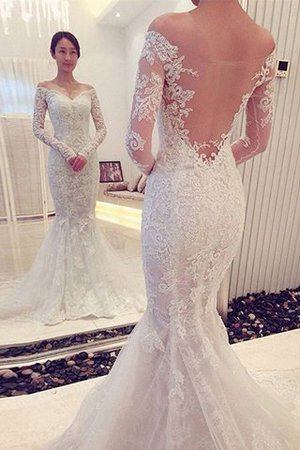 Sweep Train Long Sleeves Off The Shoulder Natural Waist Mermaid Wedding Dress