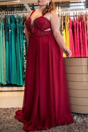 A-Line Chiffon Sweep Train Zipper Up Beading Prom Dress