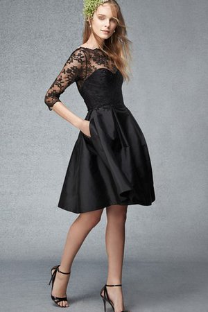 Ruched Lace Bateau 3/4 Length Sleeves Bridesmaid Dress