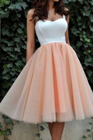 Sweetheart Natural Waist Sleeveless Short Tulle Prom Dress