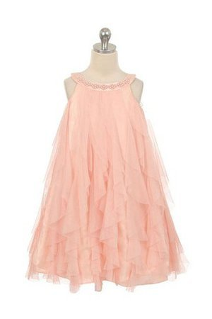 Pleated Long Ruffles Scoop Tulle Flower Girl Dress