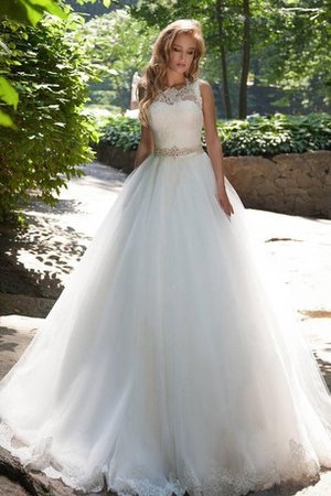 Tulle Floor Length A-Line Lace-up Modest Wedding Dress