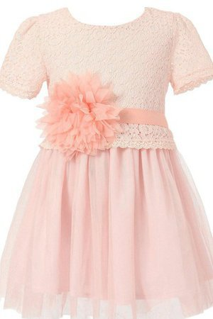 Knee Length Pleated A-Line Short Sleeves Sashes Flower Girl Dress