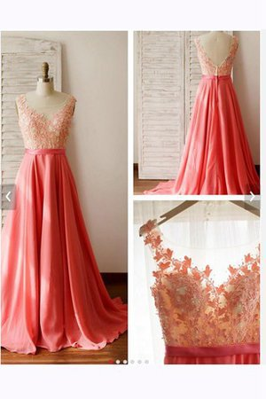 Scoop Capped Sleeves Lace Appliques Deep V-Neck Prom Dress