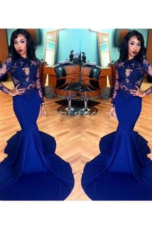 Lace Long Sleeves Scoop Satin Mermaid Prom Dress