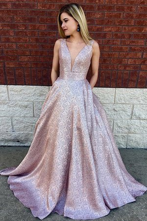 A-Line Lace Sleeveless Gorgeous Sequined V-Neck Sweep Train Prom Dress