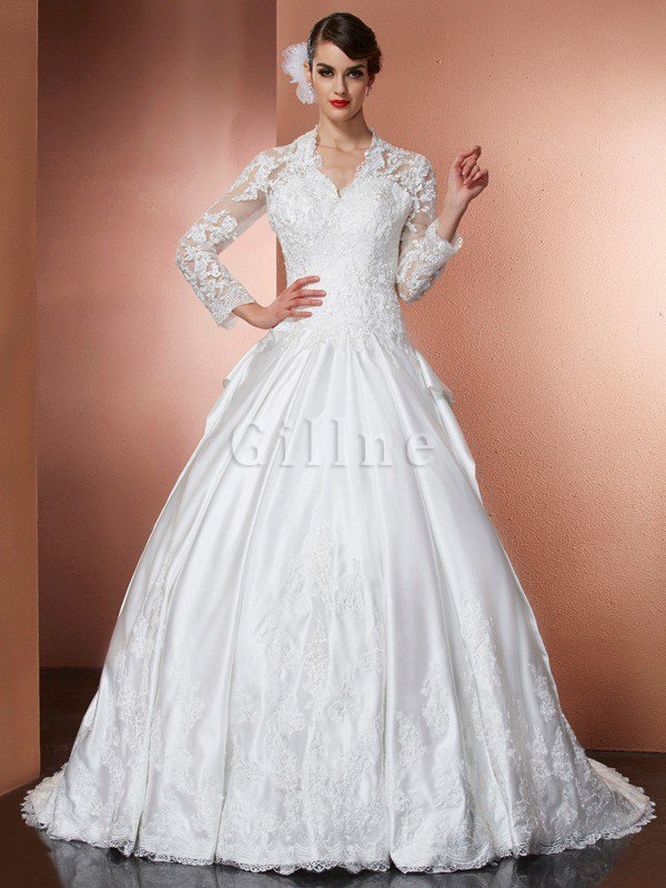 V-Neck Natural Waist Long Sleeves Satin Princess Wedding Dress