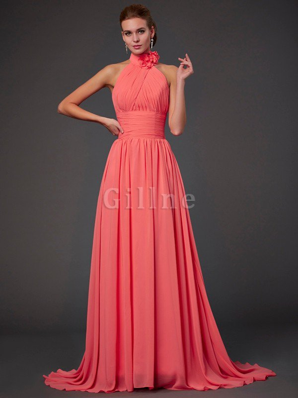 Long Princess Zipper Up Flowers Sweep Train Bridesmaid Dress