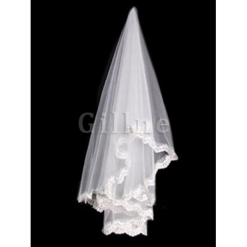Lace Hem Short Beautiful Wedding Veil