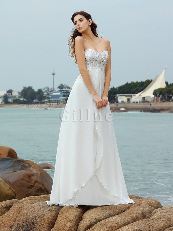 A-Line Sleeveless Beading Sweetheart Beach Wedding Dress