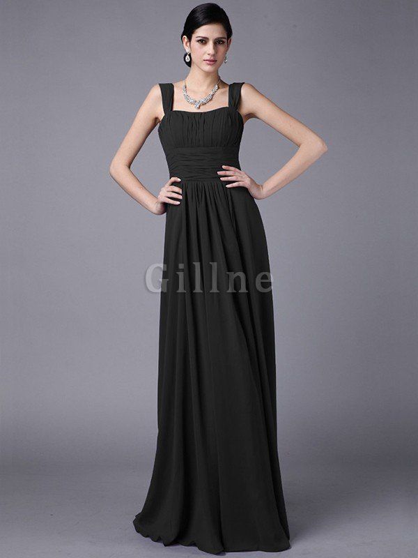 Wide Straps Empire Waist Pleated Chiffon Long Bridesmaid Dress