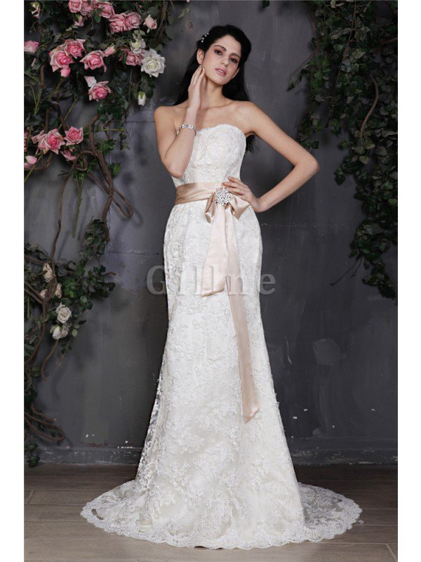 Sheath Strapless Court Train Lace-up Long Wedding Dress