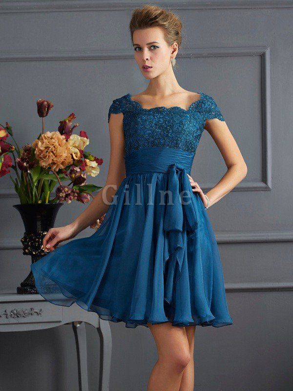 Zipper Up Short Sleeves Princess Lace Scoop Bridesmaid Dress