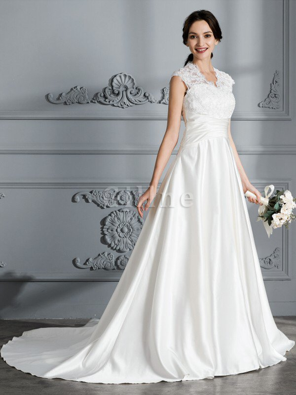 Natural Waist Satin V-Neck Court Train Ball Gown Wedding Dress