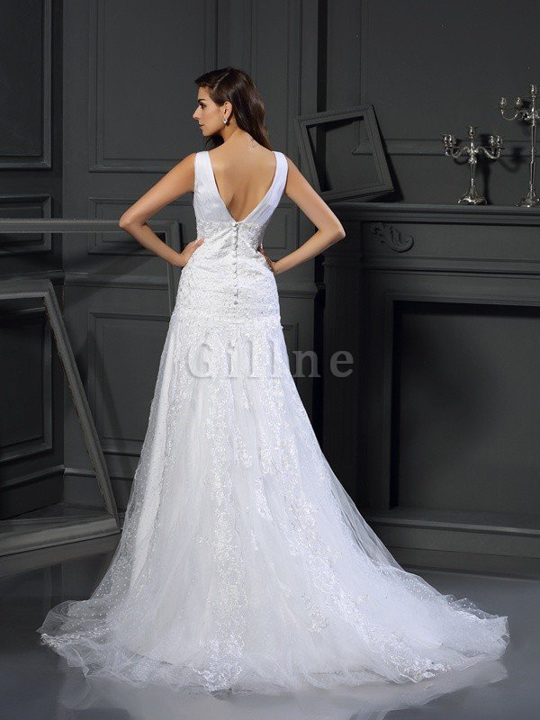 A-Line Chapel Train Appliques V-Neck Wedding Dress