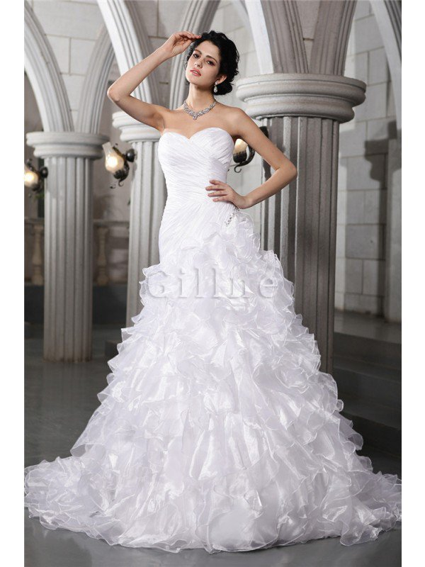 Lace-up Sleeveless Long Pleated Chapel Train Wedding Dress