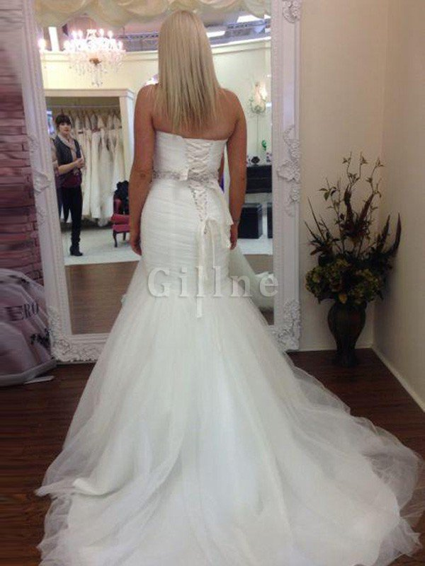 Beading Sweetheart Tulle Floor Length Mermaid Wedding Dress
