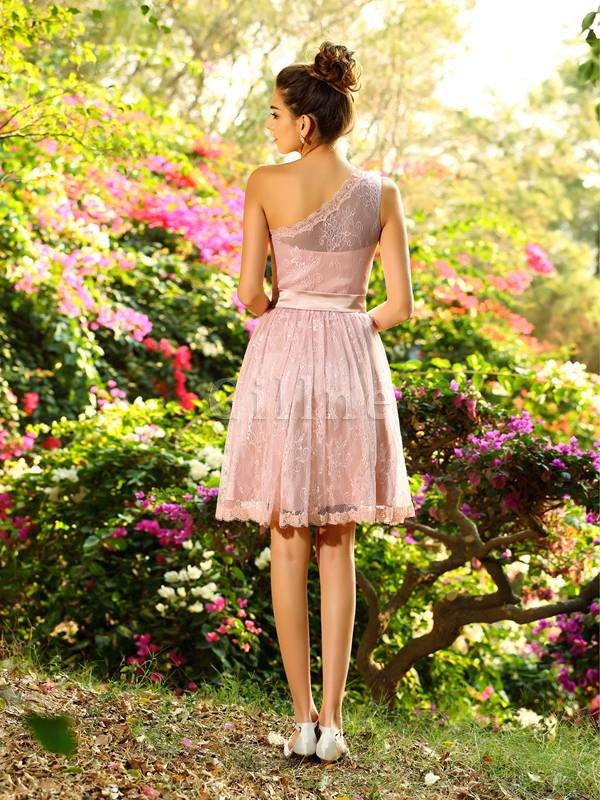 Princess Natural Waist Elastic Woven Satin Short Pleated Bridesmaid Dress