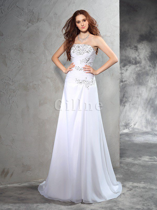 Beading Sleeveless Chiffon Sheath Natural Waist Wedding Dress