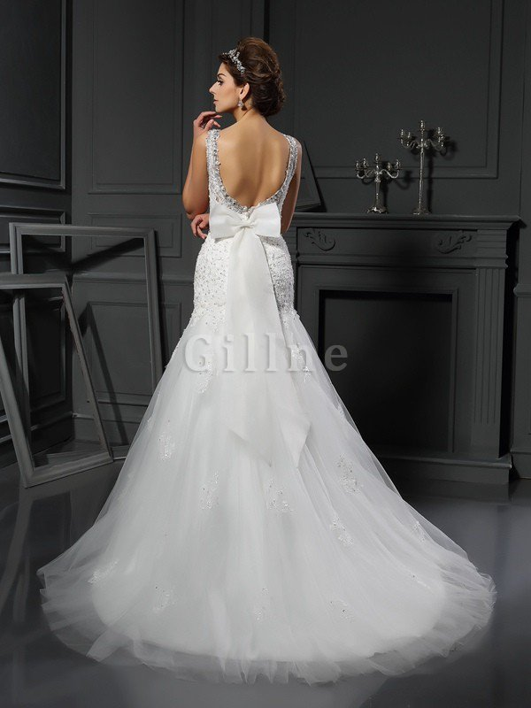 Sleeveless Natural Waist Long Court Train Scoop Wedding Dress